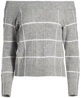 Dh New York Windowpane Check Off-The-Shoulder Sweater