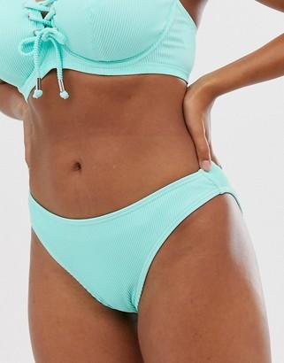 Pour Moi? Pour Moi Escape rib high leg bikini bottom in aqua-Green