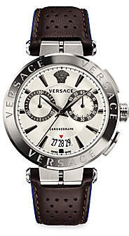 Versace Men's Aion Chrono Leather Strap Chronograph Watch