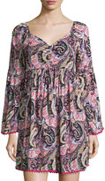 Romeo & Juliet Couture Paisley V-Neck Shift Dress, Pink/Multi