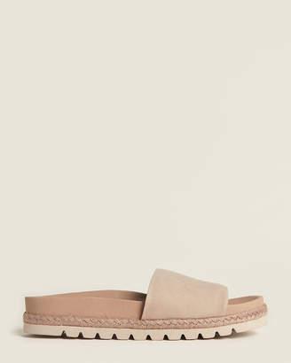 J/Slides Taupe Libby Espadrille Nubuck Slide Sandals
