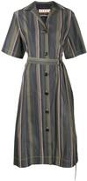 Marni stripe pattern long belt dress