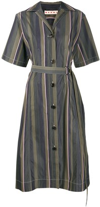 Marni stripe pattern long belt dress