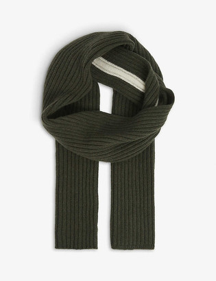 Riley Studio Striped ribbed recycled cashmere-wool blend scarf
