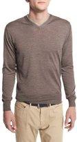 Peter Millar Silk-Blend V-Neck Pullover Sweater, Metallic Brown