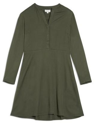 Armedangels Natural Viscose Shirt Dress In Moss Green - 14