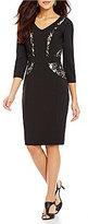 Alex Marie Ana Sheath V-Neck 3/4 Sleeve Lace Dress