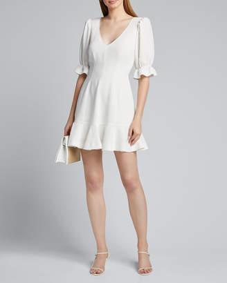 Cinq à Sept Riley V-Neck Elbow-Sleeve Mini Flounce Dress