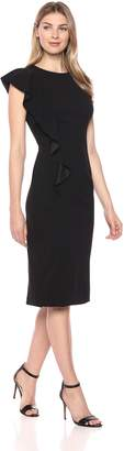 London Times Women's Sleeveless Round Neck Cascade Ruffle MIDI Sheath Dress