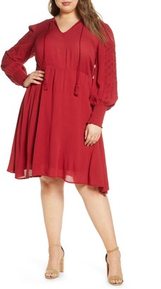 ELOQUII Embroidered Long Sleeve Fit & Flare Dress