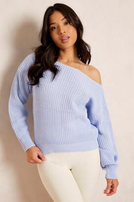 boohoo Petite Slash Neck Crop Fisherman Sweater