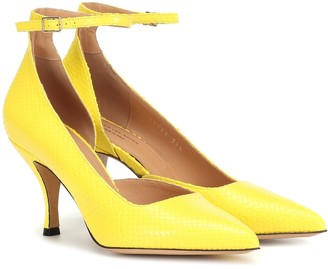 Dries Van Noten Embossed leather d'Orsay pumps