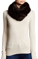 Surell Genuine Rabbit Fur Knit Scarf