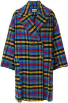 Hache checked oversized coat