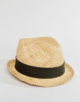 Catarzi Straw Trilby With Grey Polka Dot Band