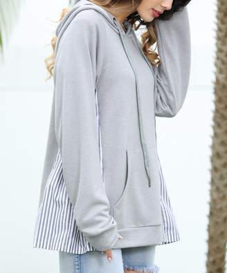 Z Avenue Women's Sweatshirts and Hoodies Light - Light Gray Stripe-Inset Kangaroo-Pocket Hoodie - Women & Plus