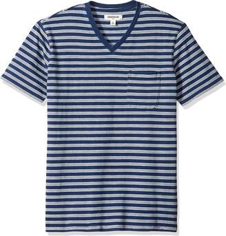 Goodthreads Men's Short-Sleeve Indigo V-Neck Pocket T-Shirt Dark Triple Stripe Large