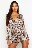 boohoo Lara Leopard Print Wrap Playsuit leopard