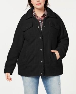 Levi's Trendy Plus Size Long Line Sherpa Trucker Jacket