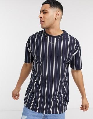 New Look vertical stripe oversized t-shirt in navy
