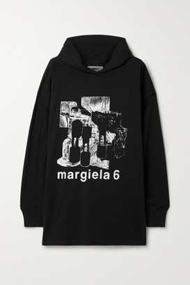 MM6 MAISON MARGIELA Oversized Printed Cotton-jersey Hoodie - Black
