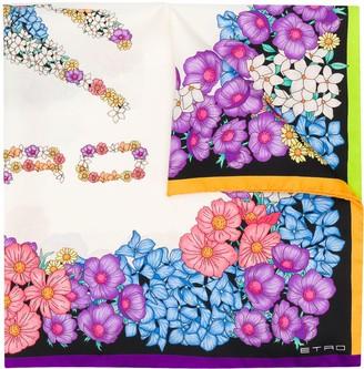 Etro Floral Print Silk Scarf