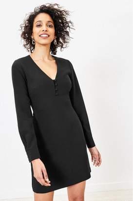 Oasis Womens Black Button Shift Dress - Black