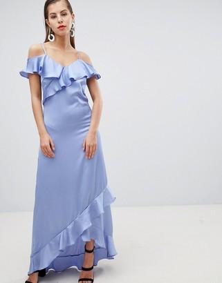 Asos Y.A.S Satin Cold Shoulder Frill Maxi Dress-Blue