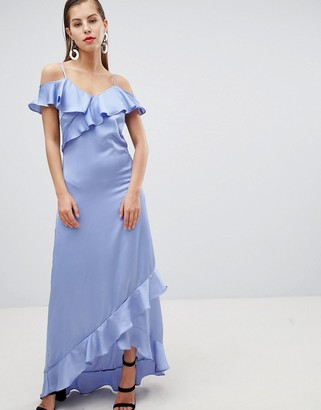 Y.A.S Satin Cold Shoulder Frill Maxi Dress