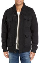 Schott NYC Men's Military Sherpa-Lined Sweater Jacket