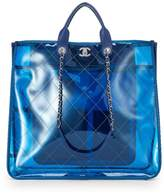 Chanel Blue Quilted Vinyl Coco Splash Shopping Tote