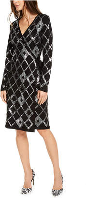 INC International Concepts Inc Sequin Wrap Sweater Dress