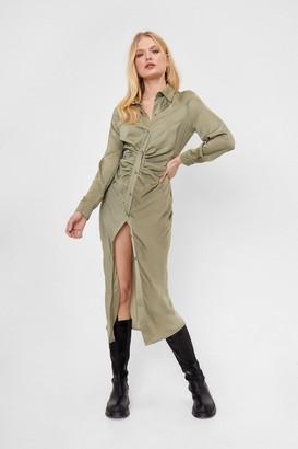 Nasty Gal Womens Ruche It Off Midi Shirt Dress - Green - 6
