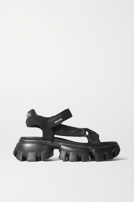 Prada Thunder Rubber-trimmed Canvas Sandals - Black