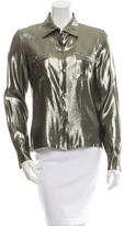 Azzaro Metallic Lamé Button-Up Top