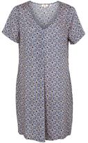 Fat Face Clara Retro Tile Dress, Blue/Multi