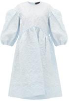 Simone Rocha Puff-sleeve Cloque Midi Dress - Womens - Blue