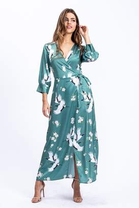 Liquorish Maxi Wrap Dress In Sage Green Oriental Floral & Bird Print