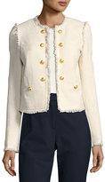 Veronica Beard Betsy Lace-Back Tweed Jacket, White