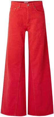 Ganni Faded High-rise Wide-leg Jeans