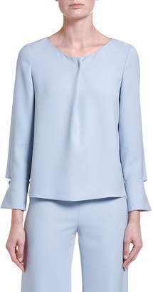 Giorgio Armani Silk-Chambray Draped-Front Tunic Blouse