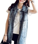 aishang-women Aishang Womens Classic Vest Loose Sleeveless Button Jean Denim Long Jacket