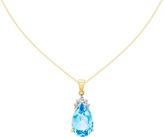 Pear Shaped Gemstone and Diamond Pendant with Chain, 14K Gold