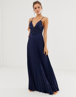 Asos DESIGN cami maxi dress with pleat skirt and knot bodice