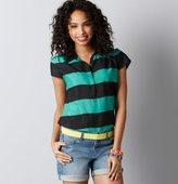 Colorblock Stripe Polo Top