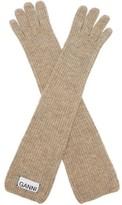 Ganni Rib-knit Wool-blend Gloves - Womens - Cream