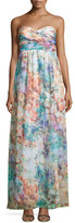 Aidan Mattox Strapless Ruched-Bodice Gown, Turquoise/Multi
