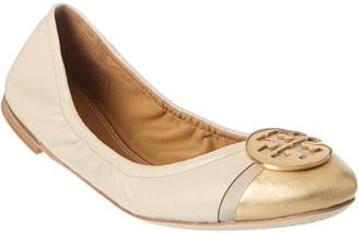 Tory Burch Minnie Cap-Toe Leather Ballet Flat
