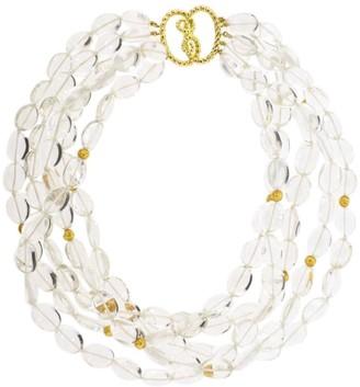 Verdura 18kt yellow gold crystal Torsade bead necklace