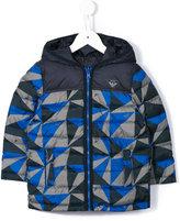 Armani Junior geometric print padded coat
